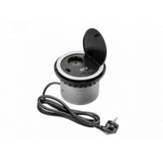 Namizna vtičnica - okrogla Φ100, 1x šuko +  2x USB